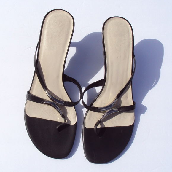 Sandals 5 Aldo Mid 38 7 Heel Leather Black Thong Ok0w8PnX
